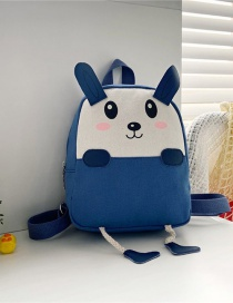 Fashion 19 Inch One Blue Canvas Bunny Elephant Stitching Contrast Backpack