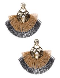 Champagne Alloy Diamond-studded Clan Style Double Tassel Earrings