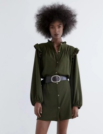 Fashion Dark Green Loose Single-breasted Dress With Stacked Shoulders