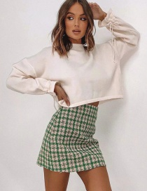 Fashion Green Houndstooth Woolen Skirt