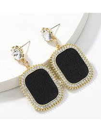 Fashion Black Square Alloy Diamond And Acrylic Artificial Leather Earrings