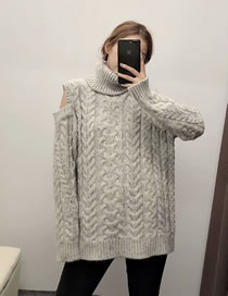 Fashion Gray Open Eight-strand Knitted Sweater Sweater