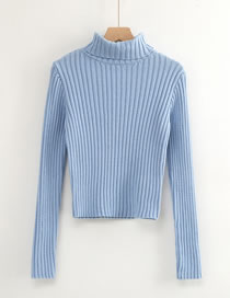 Fashion Blue High Neck Pit Strip Pullover Sweater
