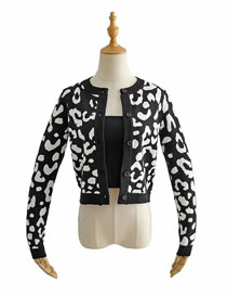 Fashion Black 2-piece Printed Cardigan Single-breasted Knit Set