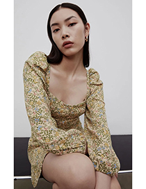 Fashion Green Floral Flower Print Single Breasted Dress