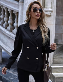 Fashion Black Lapel Double-breasted Blazer With Long Sleeves
