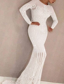 Fashion White Hollow Sequined Slim Fit Hip Dress
