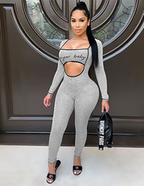 Fashion Gray Letter Square Neck Long Sleeve Skinny Jumpsuit