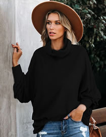 Fashion Black High Neck Loose Solid Color Long Sleeve Sweater