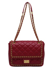 Fashion Red Locking Diamond Chain Diagonal Shoulder Bag