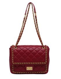 Fashion Red Locking Diamond Chain Diagonal Shoulder Bag