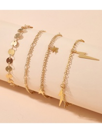 Fashion Golden Water Wave Chain Sequins Five-pointed Star Lightning Disc Anklet Set