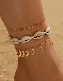 Fashion Shell Butterfly Shell Moon Disc Pendant Multilayer Anklet