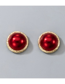 Fashion Jam Red Pearl Round Alloy Stud Earrings