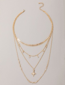 Fashion Golden Aircraft Chain Mansion Alloy Multilayer Necklace