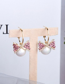 Fashion Cherry Blossom Powder Alloy Earrings With Pearl Bow And Diamonds