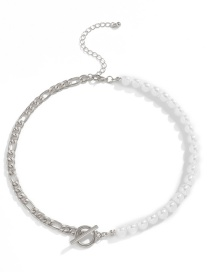 Fashion White K Pearl Chain Stitching Ot Buckle Alloy Necklace