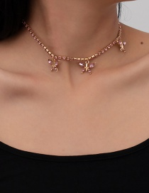 Fashion Pink Small Butterfly And Diamond Pendant Necklace