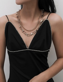 Fashion Golden Multilayer Cross Chain Key Chain Alloy Necklace