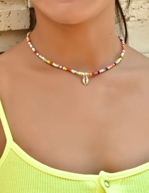 Fashion Color Mixing Rice Beads Handmade Beaded Shell Alloy Necklace