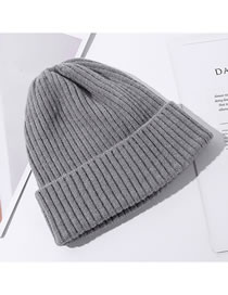 Fashion Gray Solid Color Curled Knitted Woolen Hat