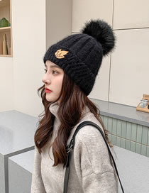 Fashion Black Double Layer Plus Fluffy Ball Rabbit Fur Leaf Label Knitted Hat