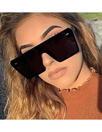 Fashion Bright Black All Gray Large Frame Square Rice Nail One-piece Resin Sunglasses
