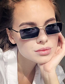 Fashion Gold Frame Gray Piece Double Beam Square Metal Alloy Sunglasses