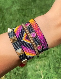 Fashion Set Price Mixed Color Geometric Hand-woven Rice Beads With Diamonds And Rivet Bracelet