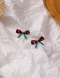 Fashion Color Mixing Micro-set Zircon Butterfly And Gold Earrings