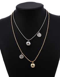 Fashion Gold+silver Color Resin Rice Bead Head Double Necklace