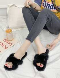 Fashion Black Rabbit Fur Household Cross-slip Wear-resistant Slippers