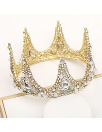 Fashion Golden Diamond-studded Geometric Hollow Full Circle Crown