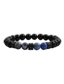 Fashion Blue Emperor Stone + Bright Stone Tiger Eye Stone Bright Stone Emperor Stone Beaded Elastic Bracelet