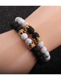 Fashion Golden Suit White Pine Volcanic Stone Crown Men S Bracelet