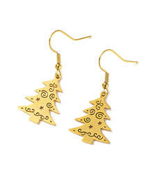 Fashion Christmas Tree Golden Titanium Steel Christmas Tree Fully Polished Cut Stainless Steel Earrings