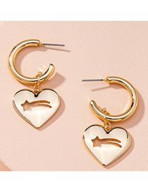 Fashion Golden Love Five-pointed Star Alloy Hollow Earrings