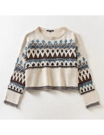 Fashion Color Jacquard Round Neck Loose Contrast Sweater