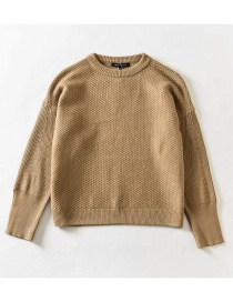 Fashion Ginger Solid Color Round Neck Loose Knit Pullover