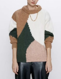 Fashion Color Contrasting Color Round Neck Loose Sweater