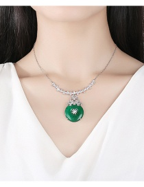 Fashion Platinum Drop-shaped Green Chalcedony Copper And Zircon Pendant Necklace