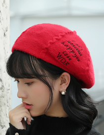 Fashion Red Embroidered Letters Plush Beret