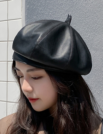 Fashion Black Leather Solid Color Stitching Octagonal Beret