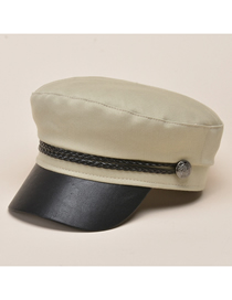 Fashion Khaki Five-pointed Star Navy Hat With Braided Metal Buckle