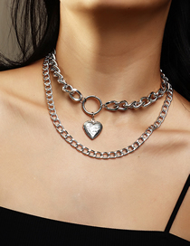 Fashion Silver Color Love Thick Chain Alloy Multilayer Necklace