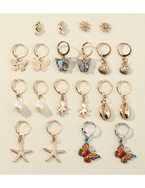 Fashion Gold Color Butterfly Starfish Pearl Geometric Earrings Set