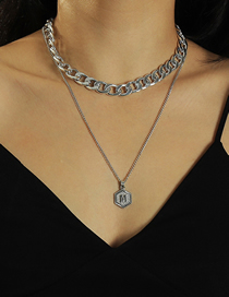 Fashion Silver Color Letter Thick Chain Double Necklace