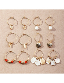 Fashion Color Mixing Disc Pendant Pearl Shell Earring Set