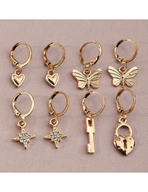 Fashion Gold Color Small Butterfly Diamond And Star Geometric Earrings Set