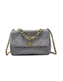 Fashion Gray Chain Lock Diamond Shoulder Messenger Bag